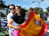 With Andrew Krasny my friend that resents players on court in a lot of the tournaments on tour, and my Spainsh flag.