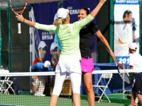 With Rennae Stubbs at the Esurance tennis Classic 2012, Celebrating Bryan Brothers Style.