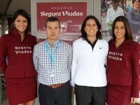 Conchita visiting Segura Widows booth in the Village of Real Club of Tennis Barcelona during the Trophy Count of Godo 2012