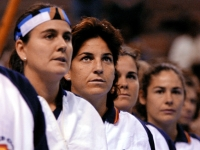 The Spanish team listen to the national anthem at the ceremony of the Federation Cup final, Mico Margets, Conchita Martinez, Arantxa Sanchez, Magui Serna and Virginia Ruano