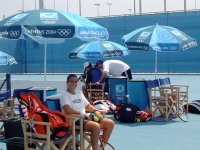 Conchita rests during a workout at the Olympic Games of Athens 2004