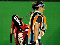Conchita Martinez leaves the court after a game
