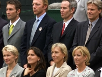 Former Wimbledon champions posing in a group photo for the parade of the celebration of the Millennium Championships