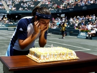 Blowing out the candles on the center court of Charleston