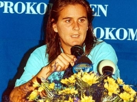 Conchita attends the media in a press conference after a game in the Sopot tournament